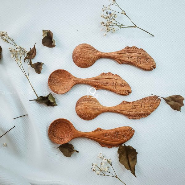Hand carved wooden spoon and fork wooden utensils cookware eco kitchen and dining table decor and gift handmade by 194 Craft House 458 scaled