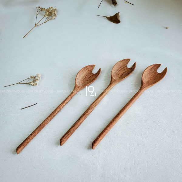 Hand carved wooden spoon and fork wooden utensils cookware eco kitchen and dining table decor and gift handmade by 194 Craft House 22 scaled