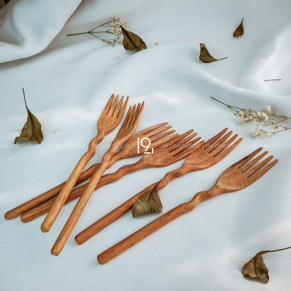 Hand carved wooden spoon and fork wooden utensils cookware eco kitchen and dining table decor and gift handmade by 194 Craft House 265 scaled