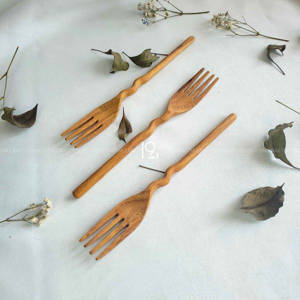 Hand carved wooden spoon and fork wooden utensils cookware eco kitchen and dining table decor and gift handmade by 194 Craft House 317 scaled