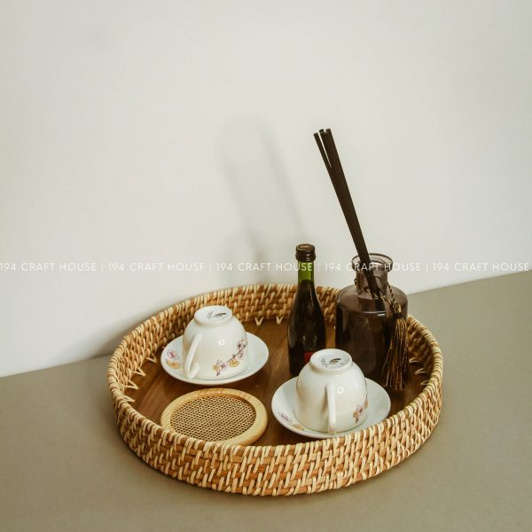 Wooden and Rattan Round High Wall Serving Tray Decor