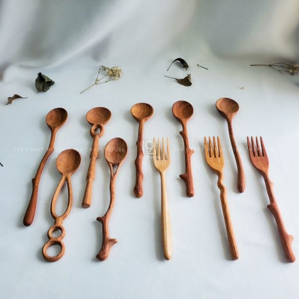 Handmade Wooden Spoon and Forks Set Gift